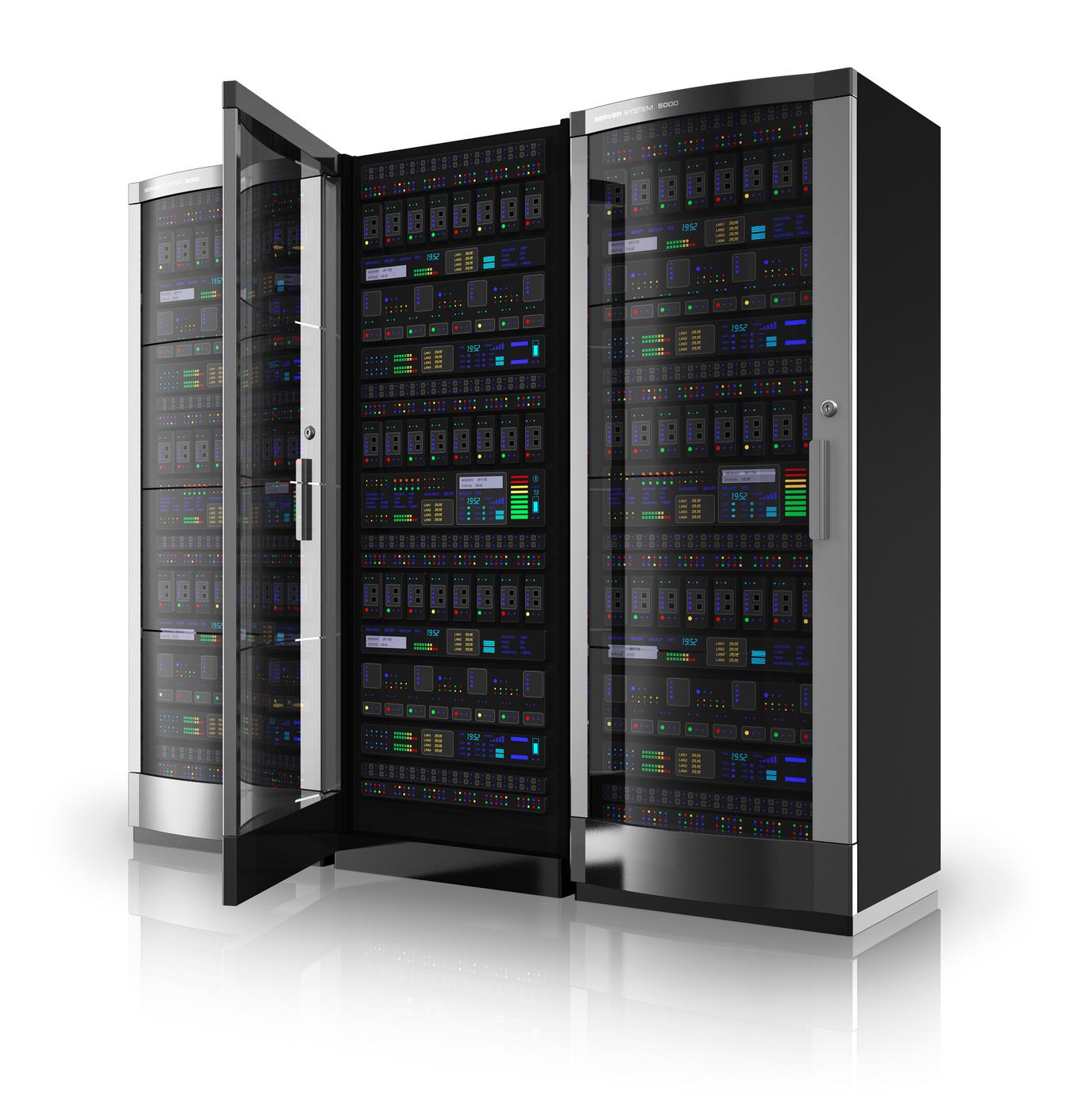 Server racks with open door
